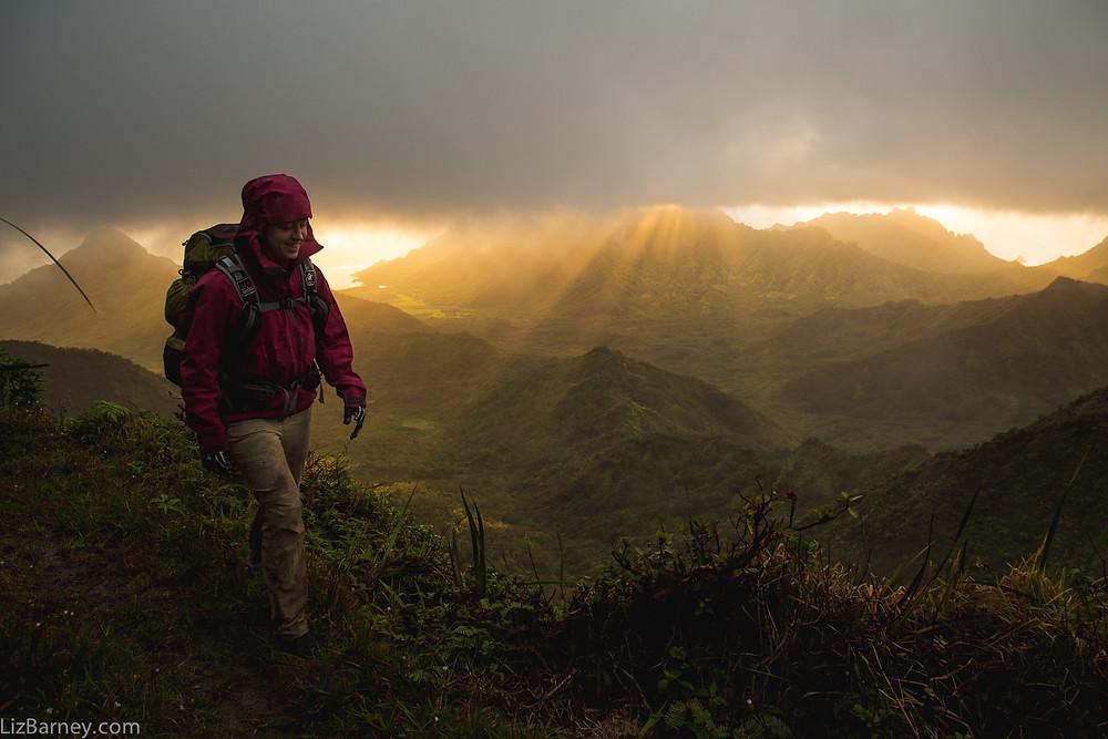 Crossing the Ko'olau Summit mountain range in Hawaii in 2015.