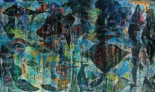 飛魚飛過泥濘的疆域(二) 145X243cm  壓克力彩、畫布  2002.jp