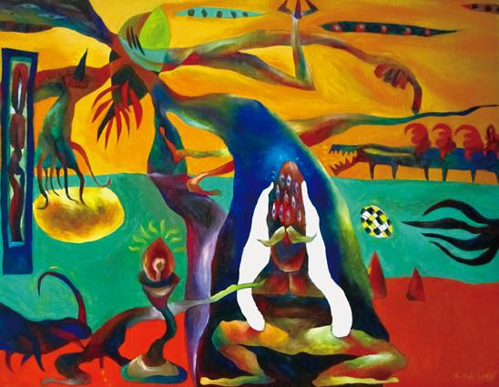 思維中的冥想 Meditation in Thinking 1995 布上壓克力彩 Acrylic on canvas 91X116.5cm