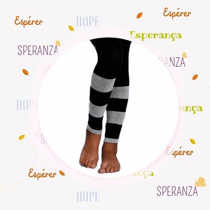 Meia Calça tipo legging Preta Listras Basic - sem pé