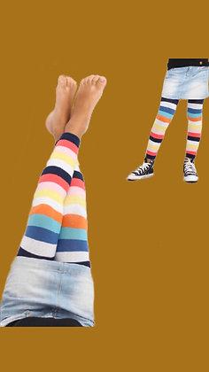 Meia Calça tipo legging Color Listras  - sem pé