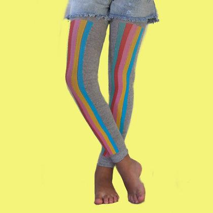 Meia calça tipo Legging Mescla Listras Laterais