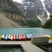 Canoes at Lake Moraine (Vertical)