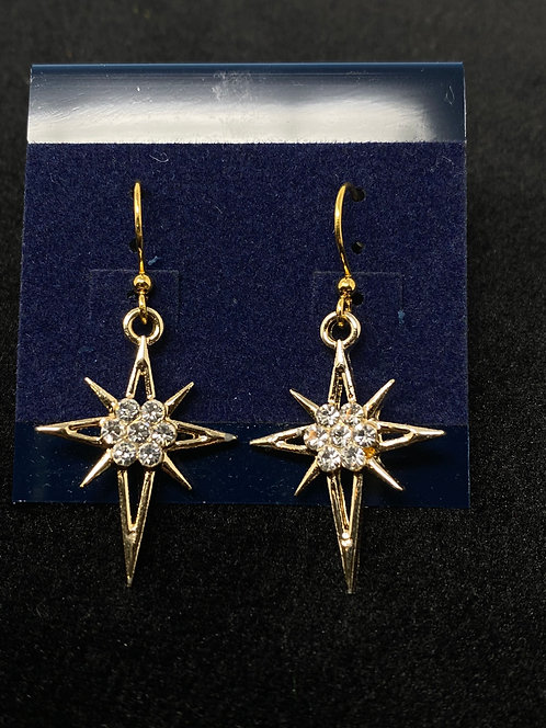 Gold Plated Star Earrings by Westwind Jewelry
