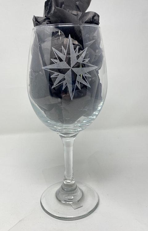 Moravian Star Stemmed Wine Glass