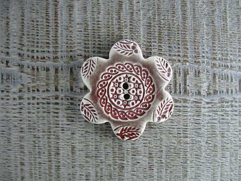 Grand bouton céramique fleur