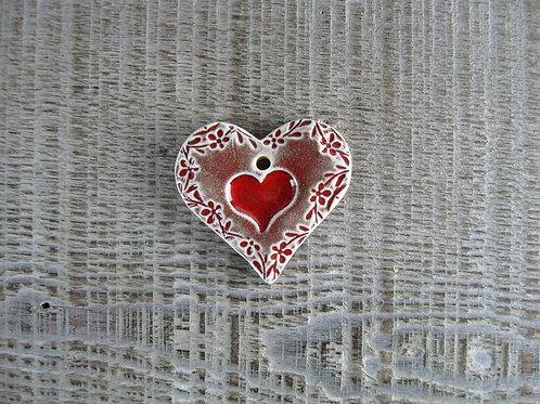Petit coeur céramique motif frise