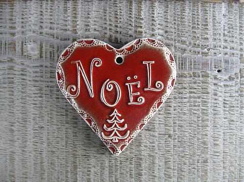 Coeur céramique décoration Noël