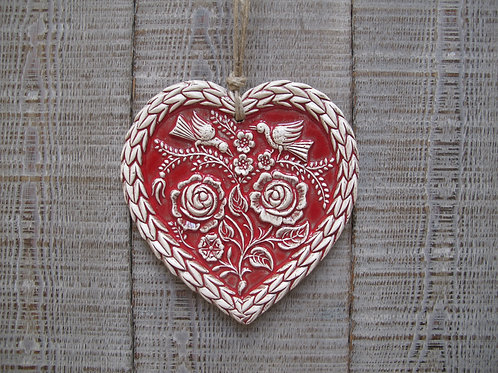 Coeur alsacien oiseaux aux rosesgrand modèle