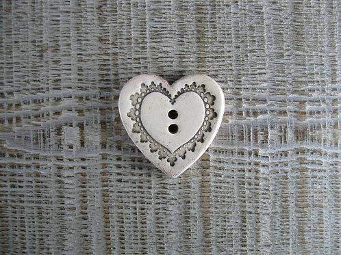 Bouton céramique en forme de coeur