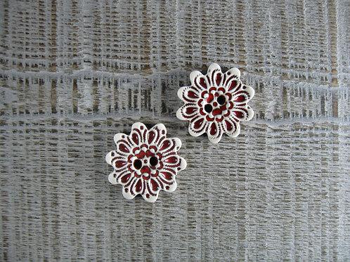 Lot de 2 boutons céramique fleur