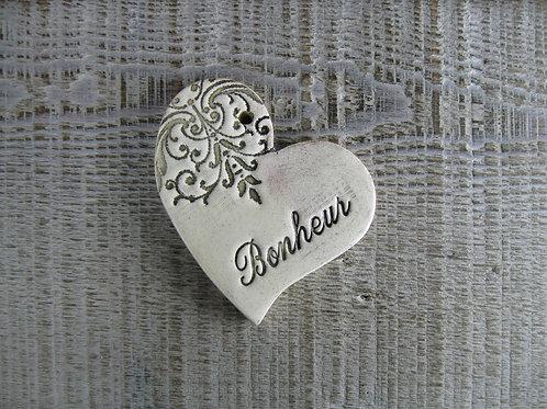 Coeur décentré céramique mot Bonheur