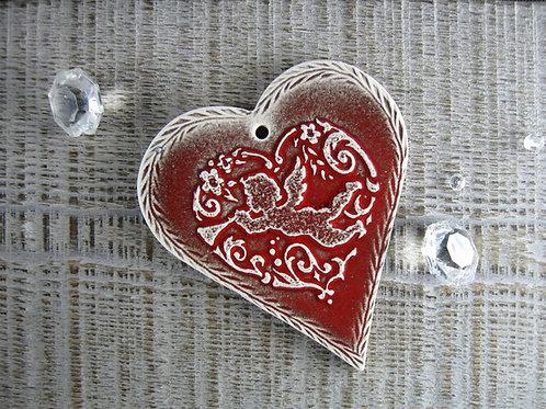 Coeur Ange à la trompette décoration de Noël