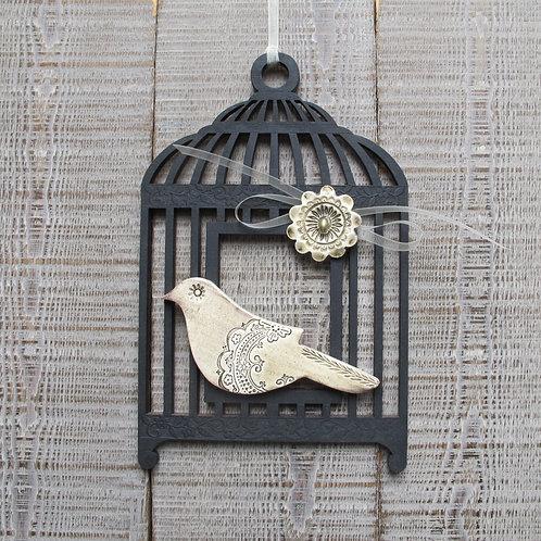 Cage oiseau en bois anthracite, oiseau céramique