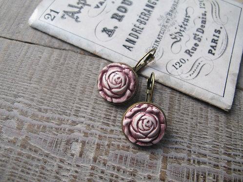 Boucles d'oreilles céramique petites roses