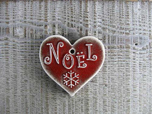 Coeur céramique rouge décoration Noël