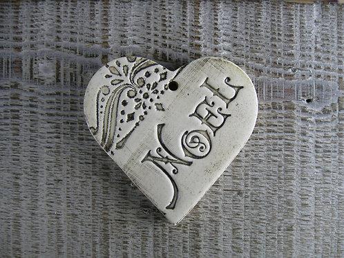 Coeur céramique décoration Noël vintage