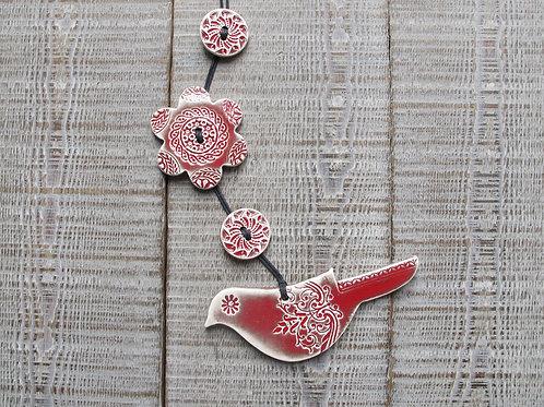 Guirlande oiseau rouge