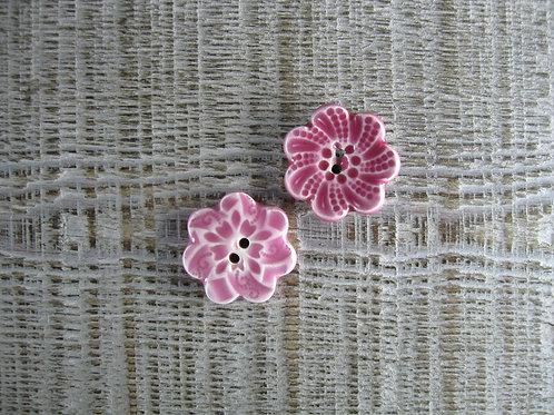 2 petits boutons fleur assortiment rose