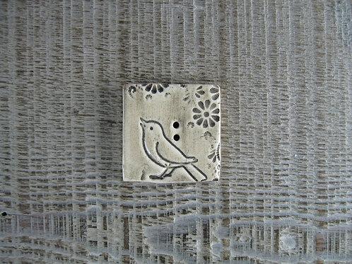 Bouton carré céramique oiseau