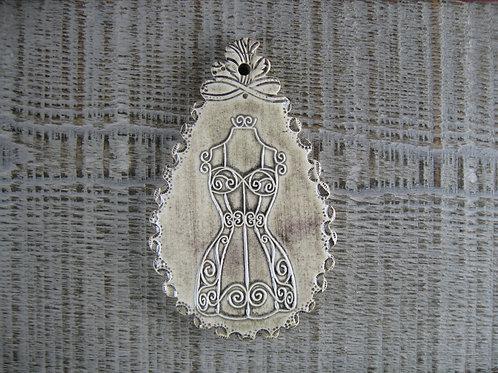 Pampille céramique buste couturière rétro
