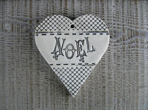 Coeur céramique décoration Noël rétro
