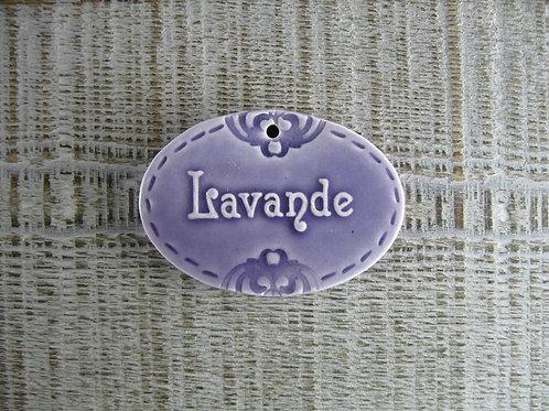 Médaillon ovale céramique Lavande