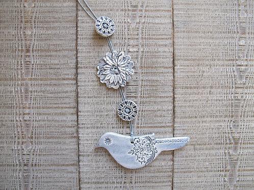 Guirlande oiseau gris bleu