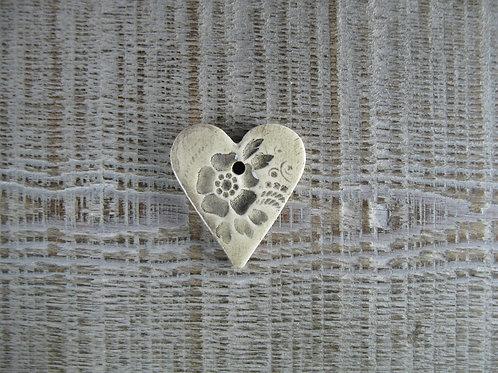 Petit coeur céramique motif fleur