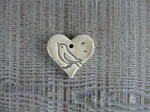 Petit coeur céramique motif oiseau