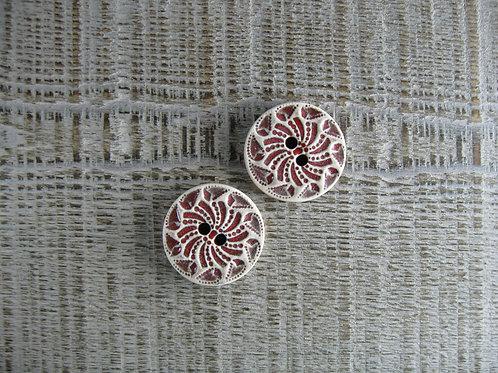 Lot de 2 boutons céramique rond