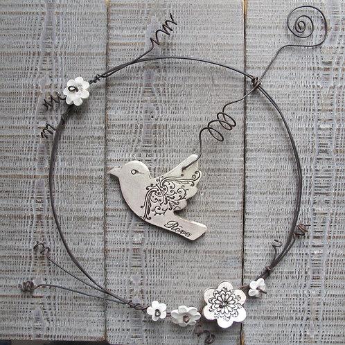 Couronne fil de fer et oiseau céramique