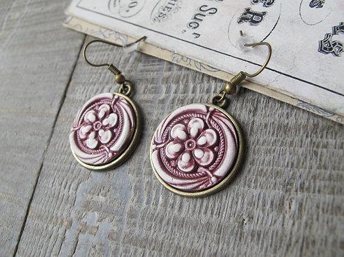 Boucles d'oreilles céramique rose motif fleur