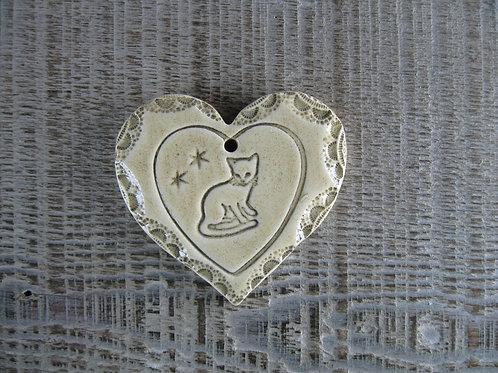 Coeur céramique chat
