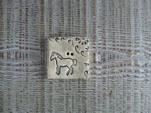 Bouton carré céramique cheval