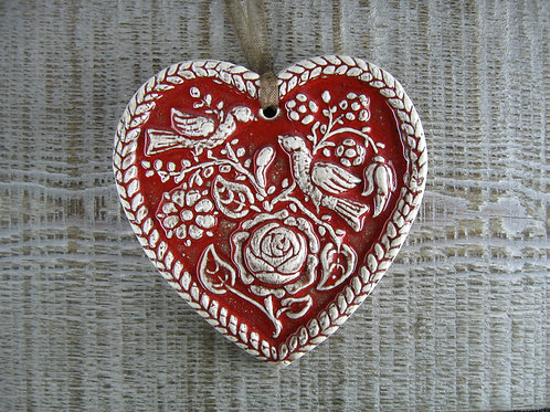 Coeur alsacien oiseaux à la rose petit modèle