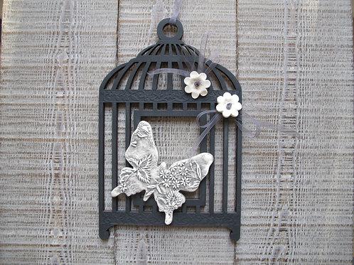 Cage en bois noir ardoise, papillon céramique