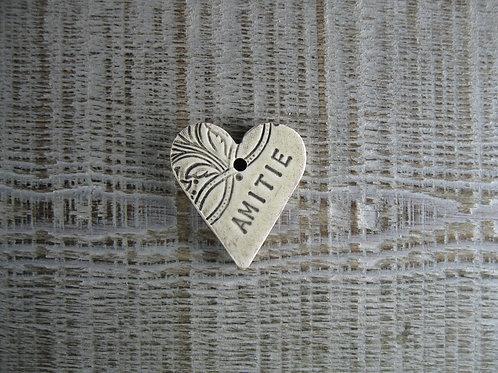Petit coeur céramique mot Amitié