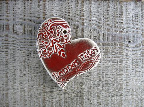 Coeur décentré céramique Bonnes Fêtes