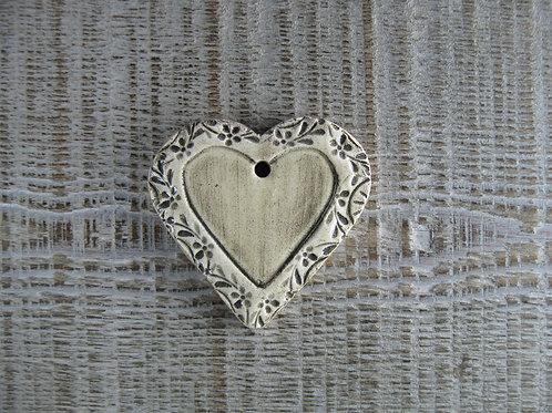 Coeur céramique bordure fleurie