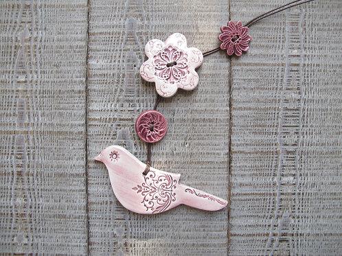 Guirlande oiseau rose violine