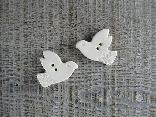 Petites colombes boutons céramique crème
