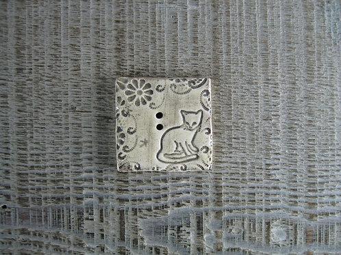 Bouton carré céramique chat