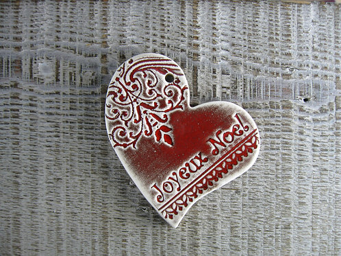 Coeur décentré céramique Joyeux Noël