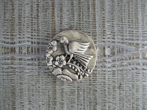 Bouton céramique oiseau alsacien GM