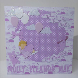 A lilac baby girl card
