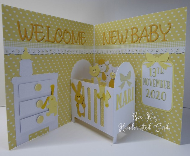 A sunny yellow cot card with details
