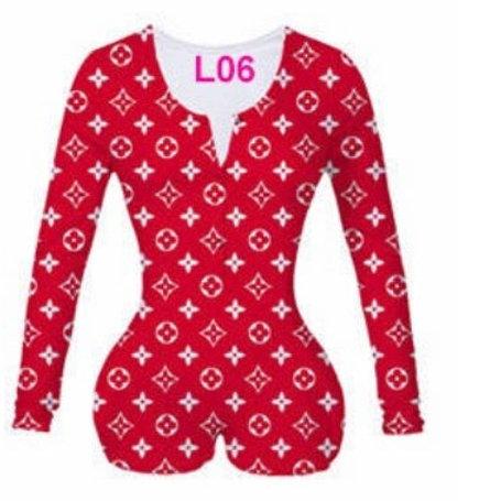 """""""Red LV Print"""" Onesie"""