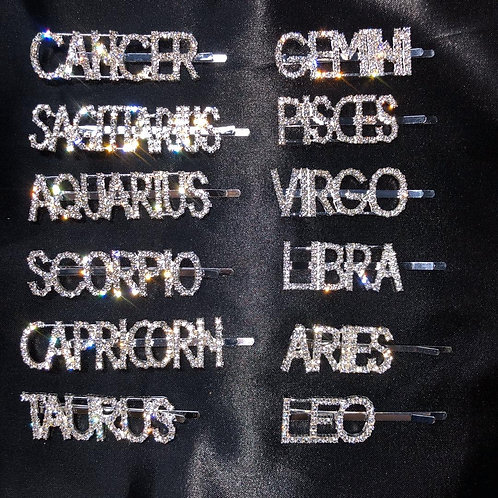 Zodiac Bling Hair Clips