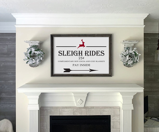 SLEIGH RIDES | Flat Canvas Wall Art | Christmas | Ready to Frame